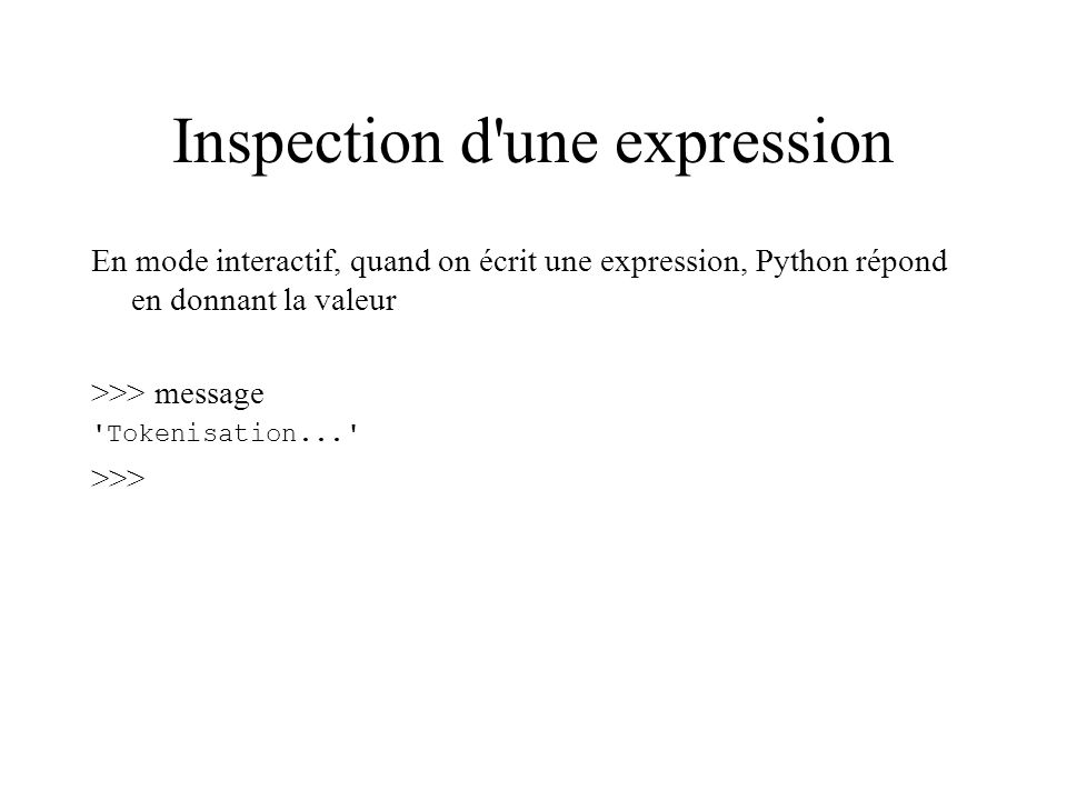 Inspection d une expression