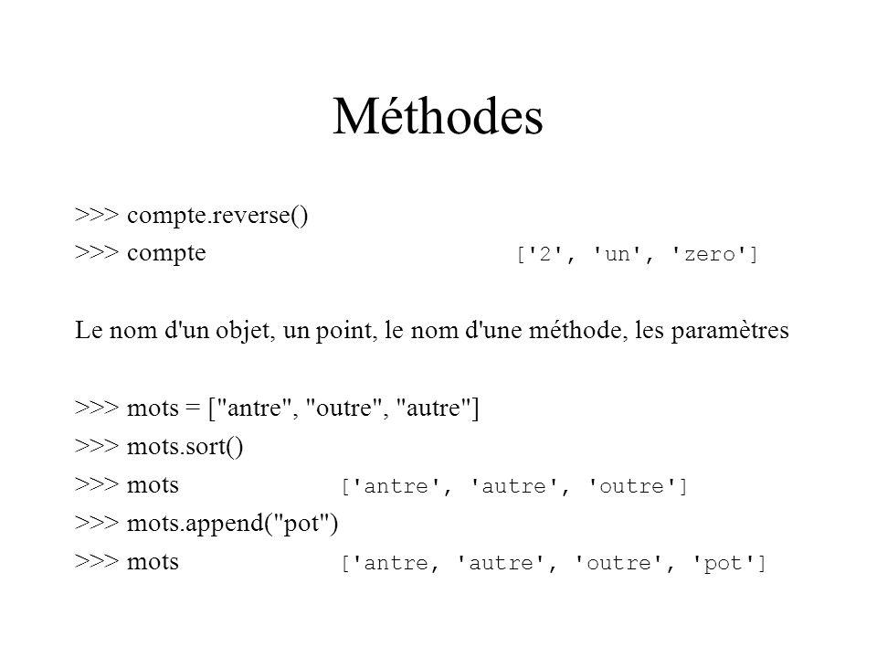 Méthodes >>> compte.reverse()
