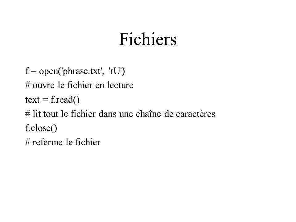 Fichiers f = open( phrase.txt , rU ) # ouvre le fichier en lecture