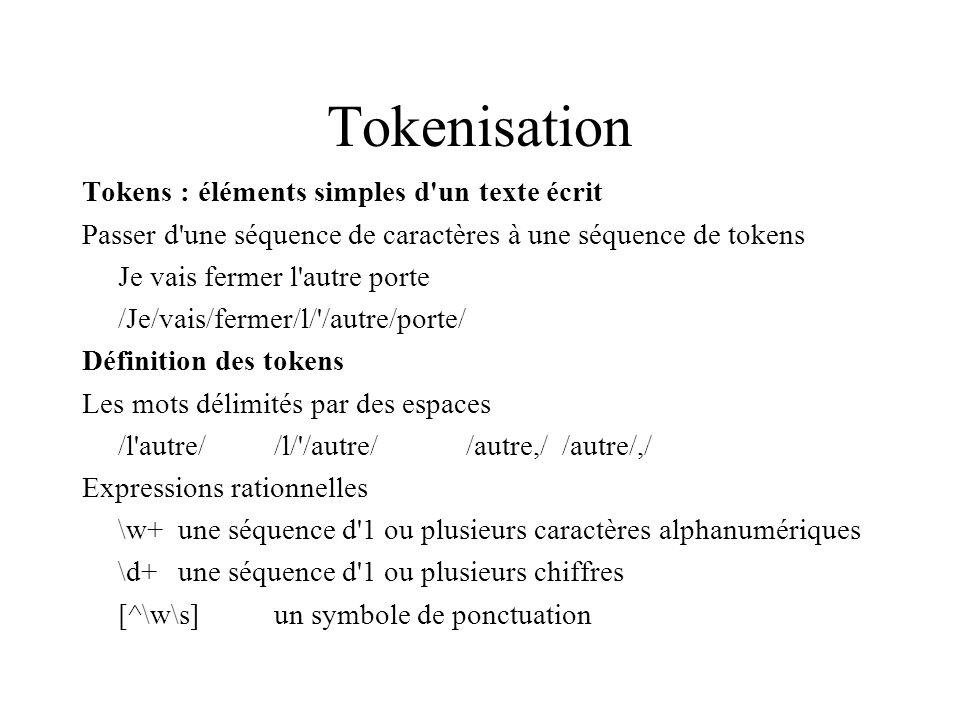 Tokenisation Tokens : éléments simples d un texte écrit