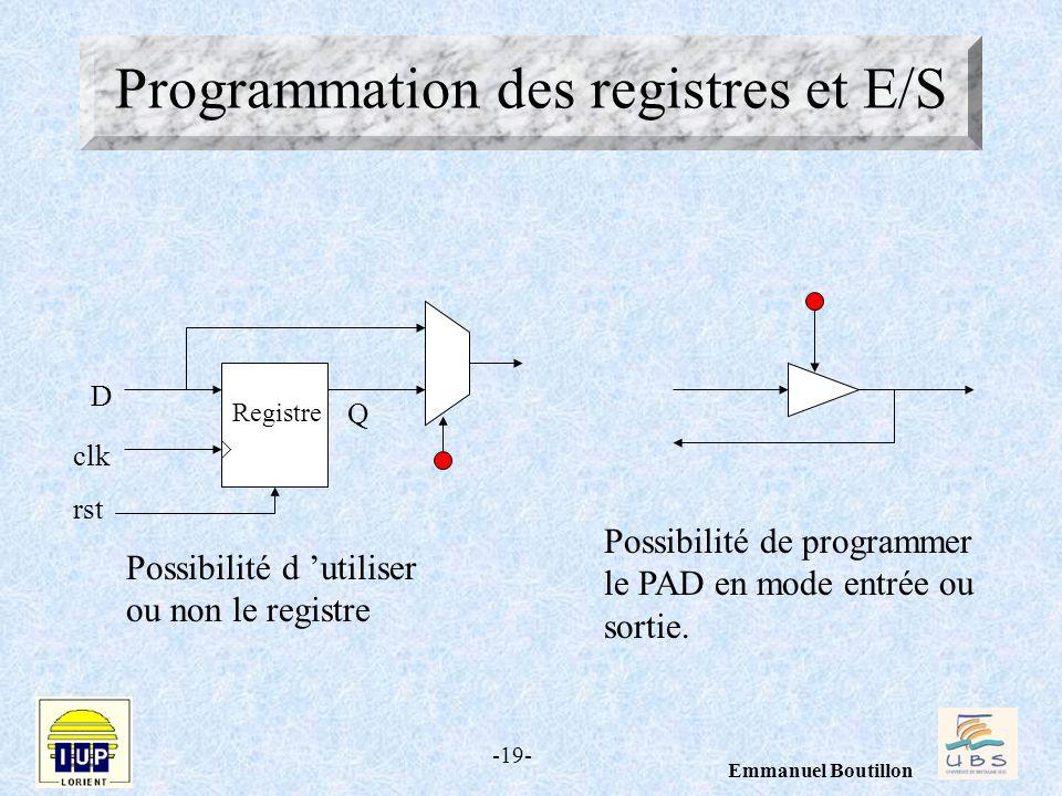 Programmation des registres et E/S