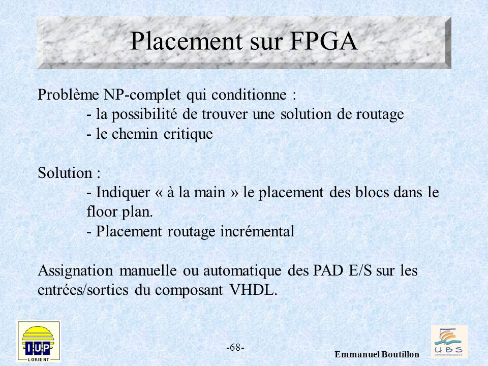 Placement sur FPGA Problème NP-complet qui conditionne :