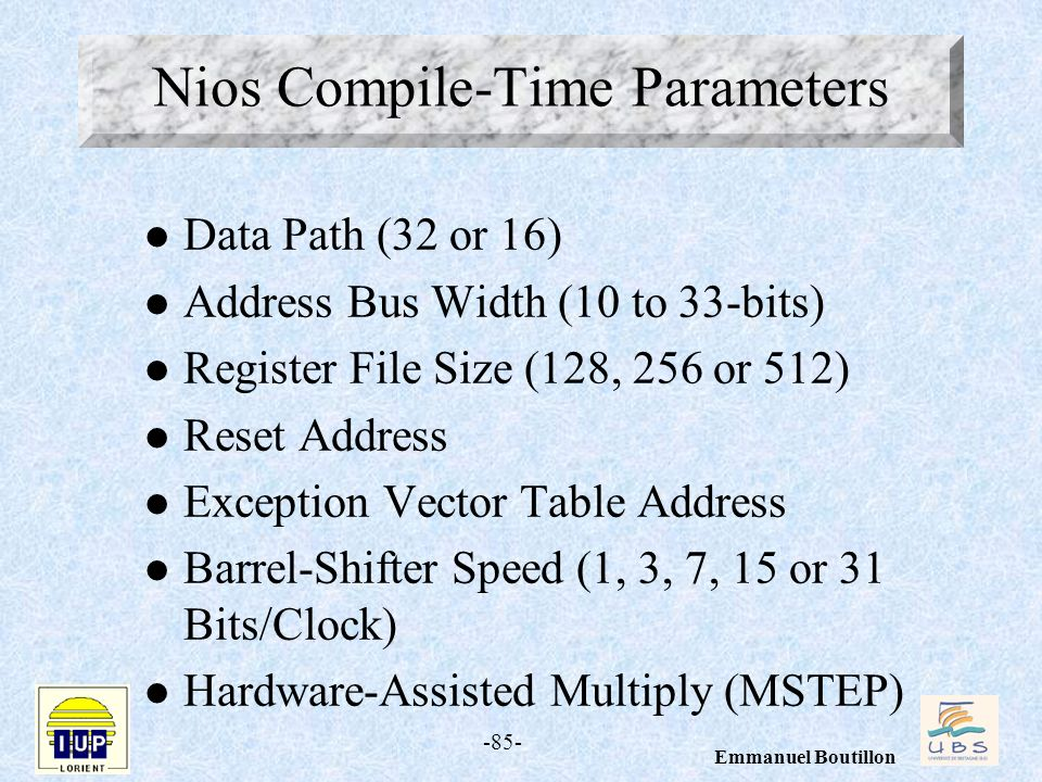 Nios Compile-Time Parameters