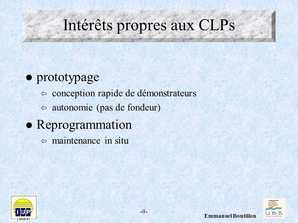 Intérêts propres aux CLPs