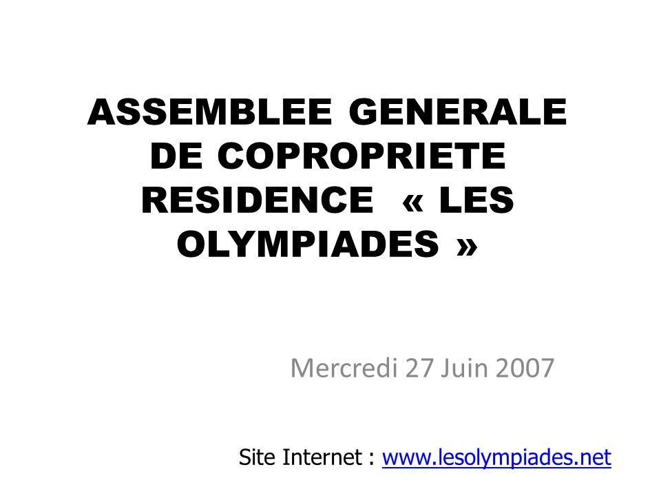 ASSEMBLEE GENERALE DE COPROPRIETE RESIDENCE « LES OLYMPIADES »