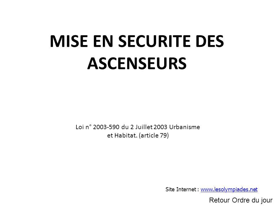 MISE EN SECURITE DES ASCENSEURS