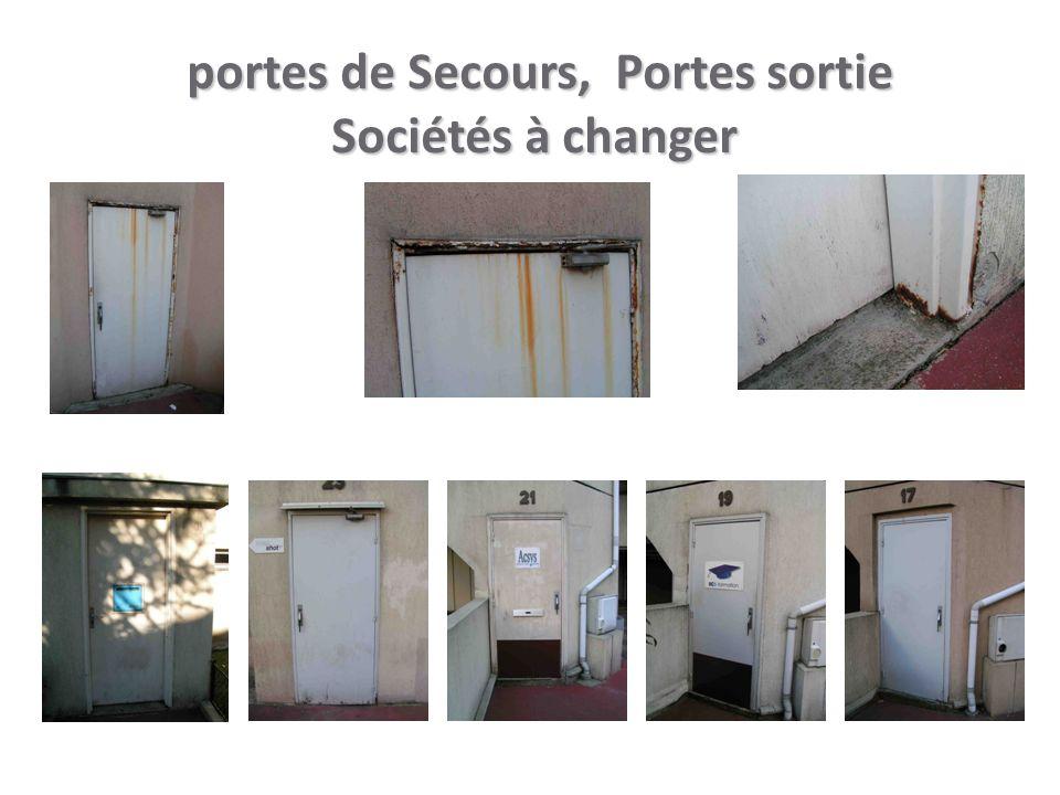 portes de Secours, Portes sortie Sociétés à changer