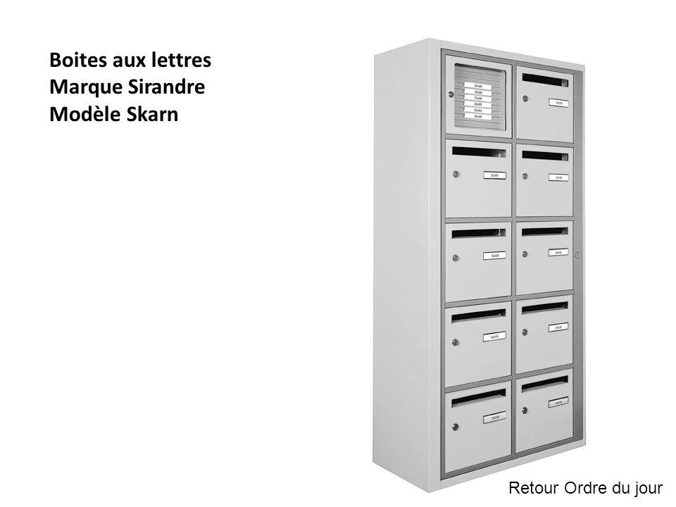 Boites aux lettres Marque Sirandre Modèle Skarn Retour Ordre du jour