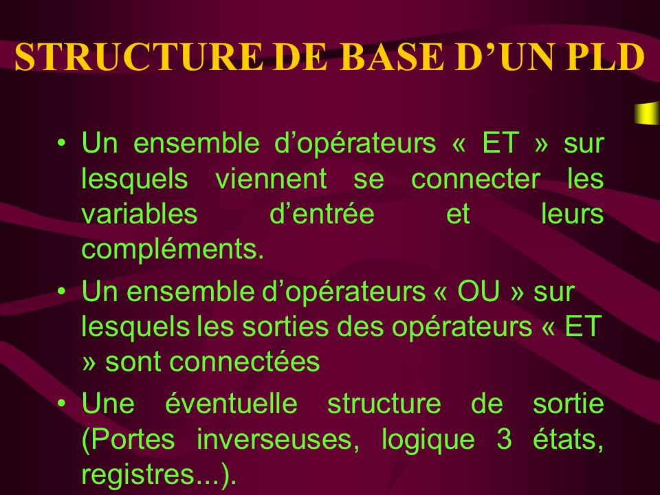 STRUCTURE DE BASE D'UN PLD