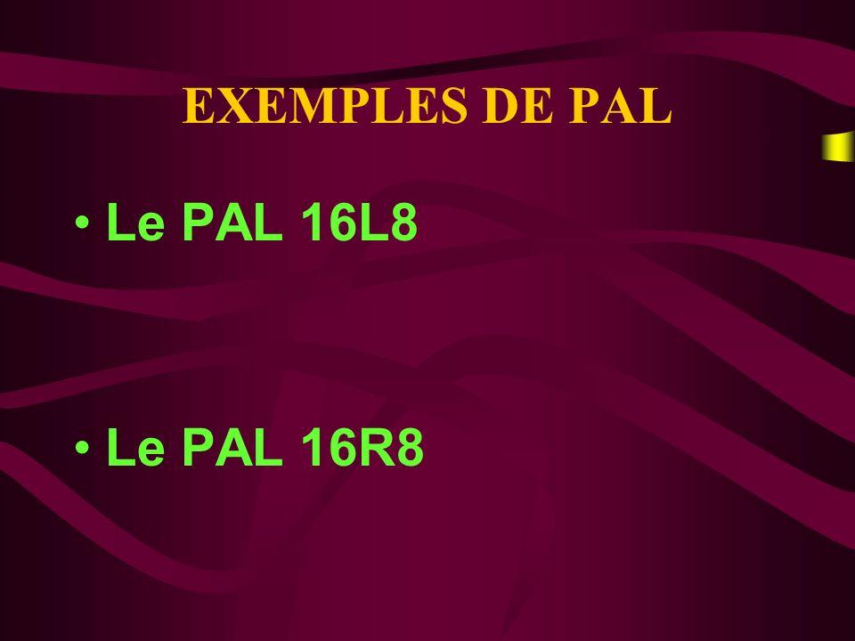 EXEMPLES DE PAL Le PAL 16L8 Le PAL 16R8