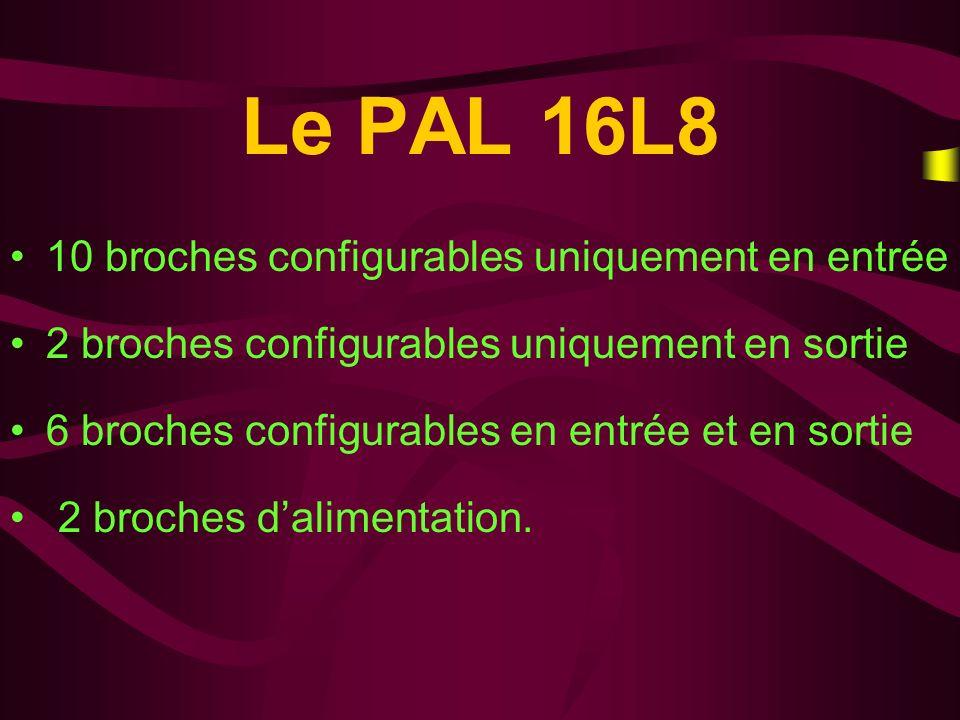 Le PAL 16L8 10 broches configurables uniquement en entrée