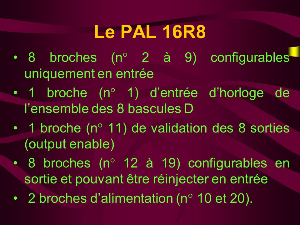 Le PAL 16R8 8 broches (n° 2 à 9) configurables uniquement en entrée