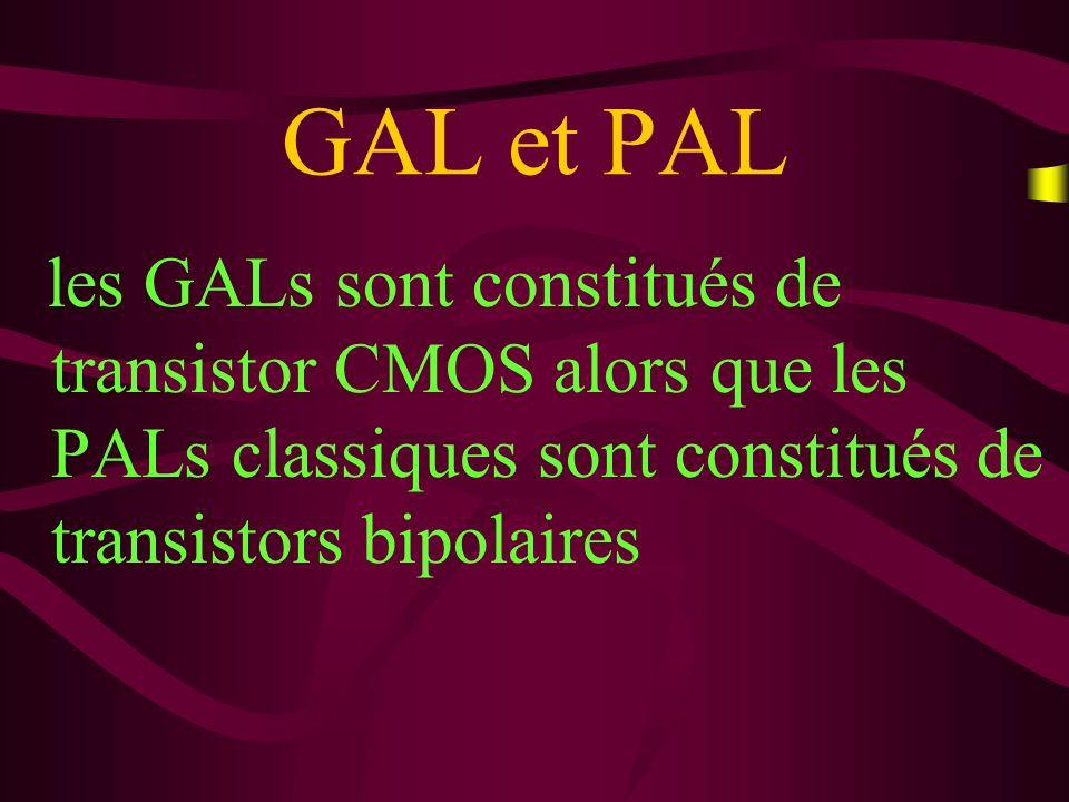 GAL et PAL les GALs sont constitués de transistor CMOS alors que les PALs classiques sont constitués de transistors bipolaires.