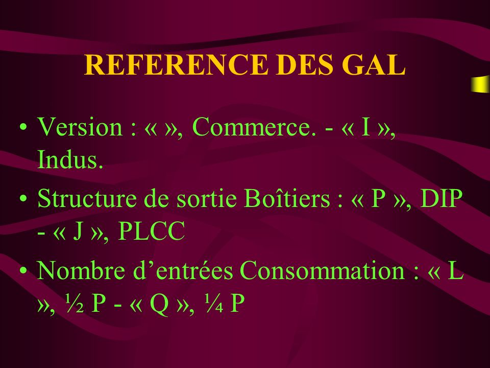 REFERENCE DES GAL Version : « », Commerce. - « I », Indus.