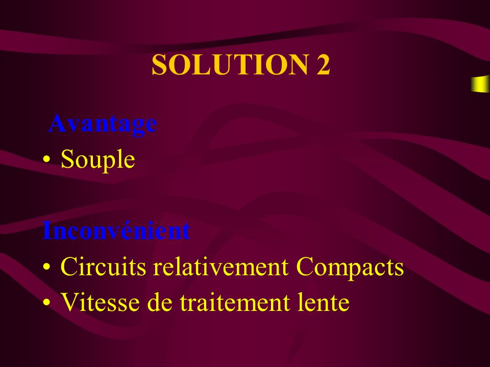SOLUTION 2 Souple Inconvénient Circuits relativement Compacts