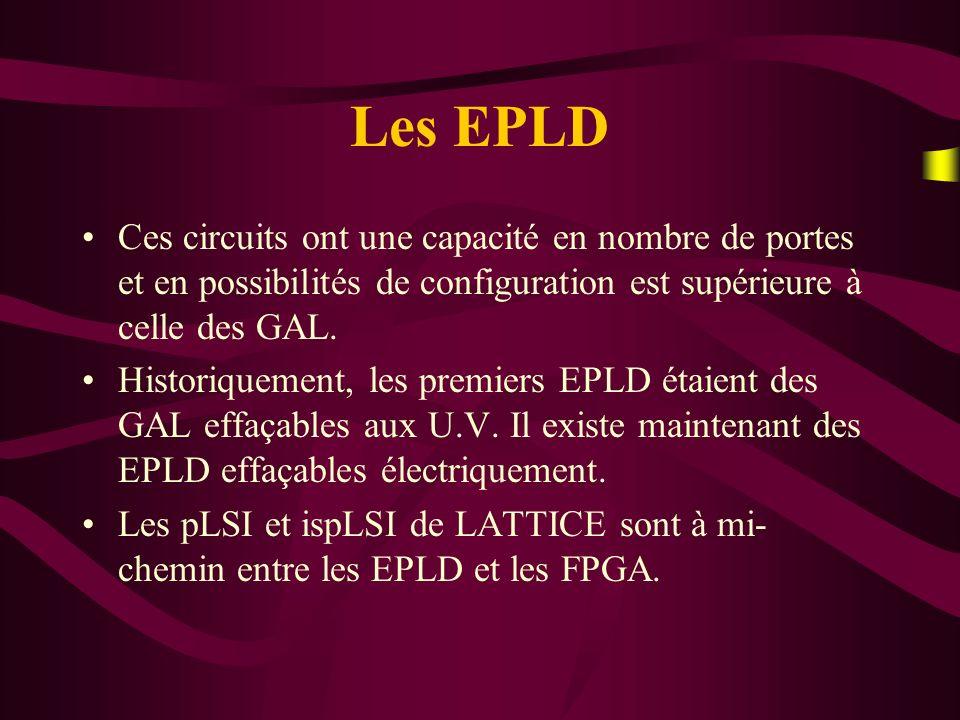 Les EPLD Ces circuits ont une capacité en nombre de portes et en possibilités de configuration est supérieure à celle des GAL.
