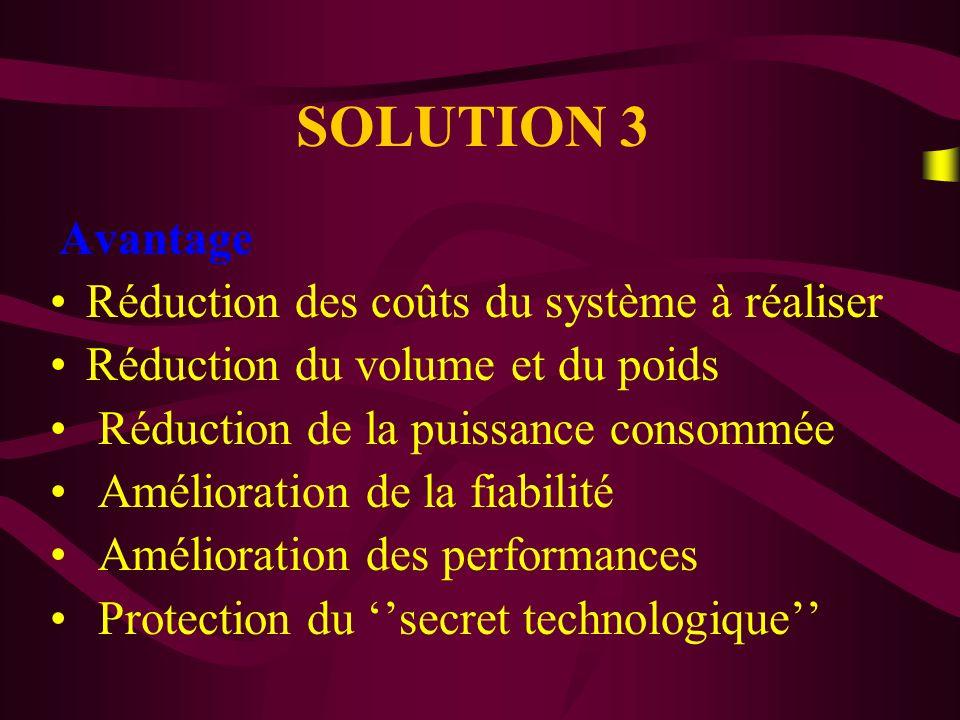 SOLUTION 3 Réduction des coûts du système à réaliser
