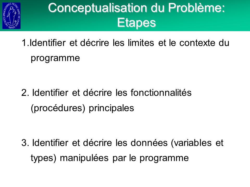 Conceptualisation du Problème: Etapes