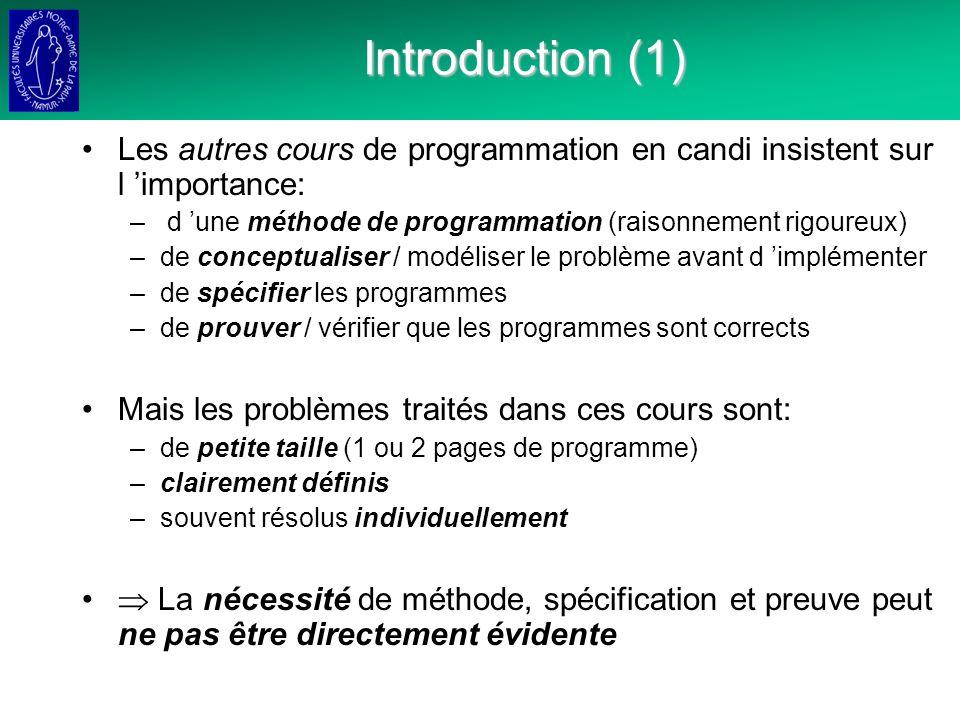 Introduction (1) Les autres cours de programmation en candi insistent sur l 'importance: d 'une méthode de programmation (raisonnement rigoureux)