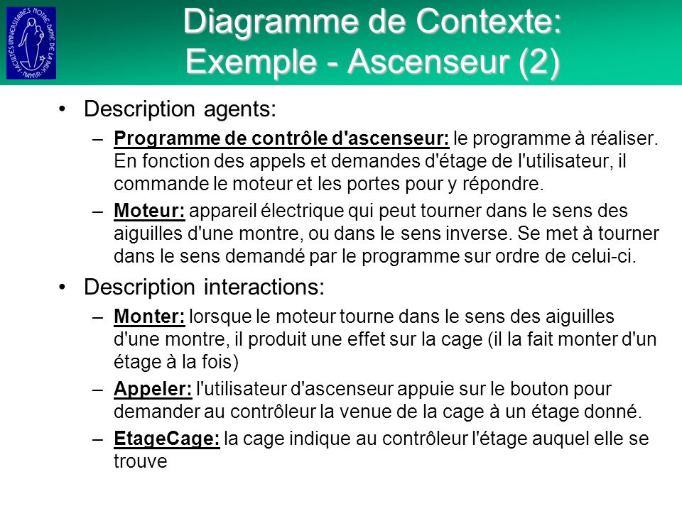 Diagramme de Contexte: Exemple - Ascenseur (2)