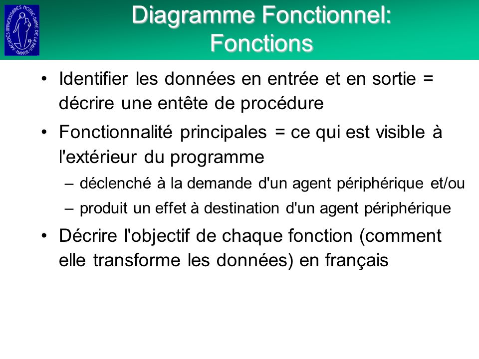 Diagramme Fonctionnel: Fonctions