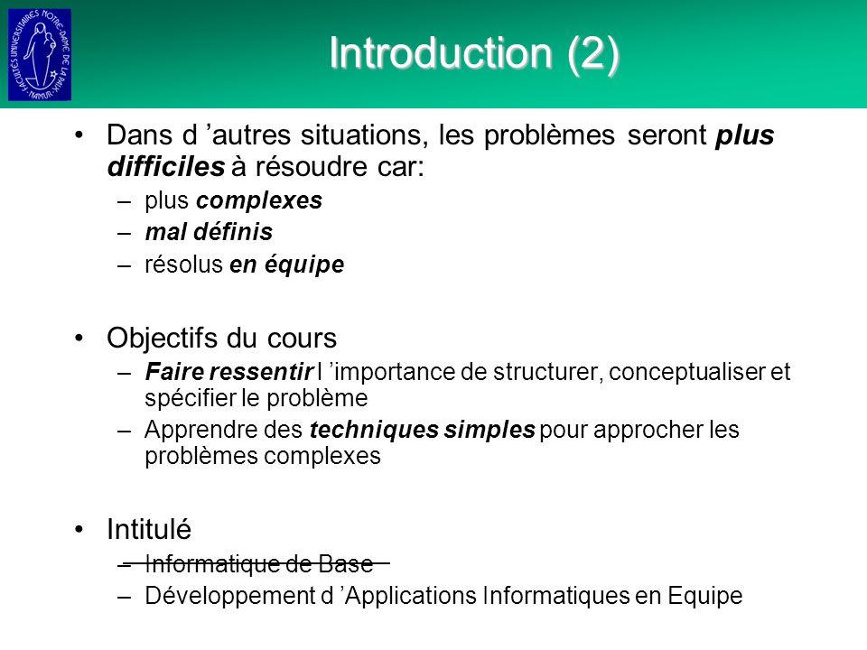 Introduction (2) Dans d 'autres situations, les problèmes seront plus difficiles à résoudre car: plus complexes.