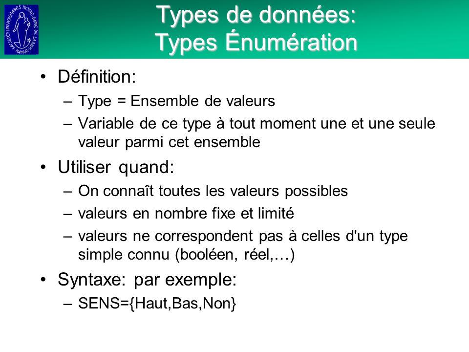 Types de données: Types Énumération