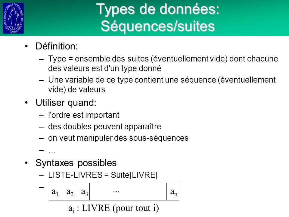 Types de données: Séquences/suites