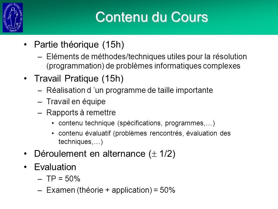 Contenu du Cours Partie théorique (15h) Travail Pratique (15h)