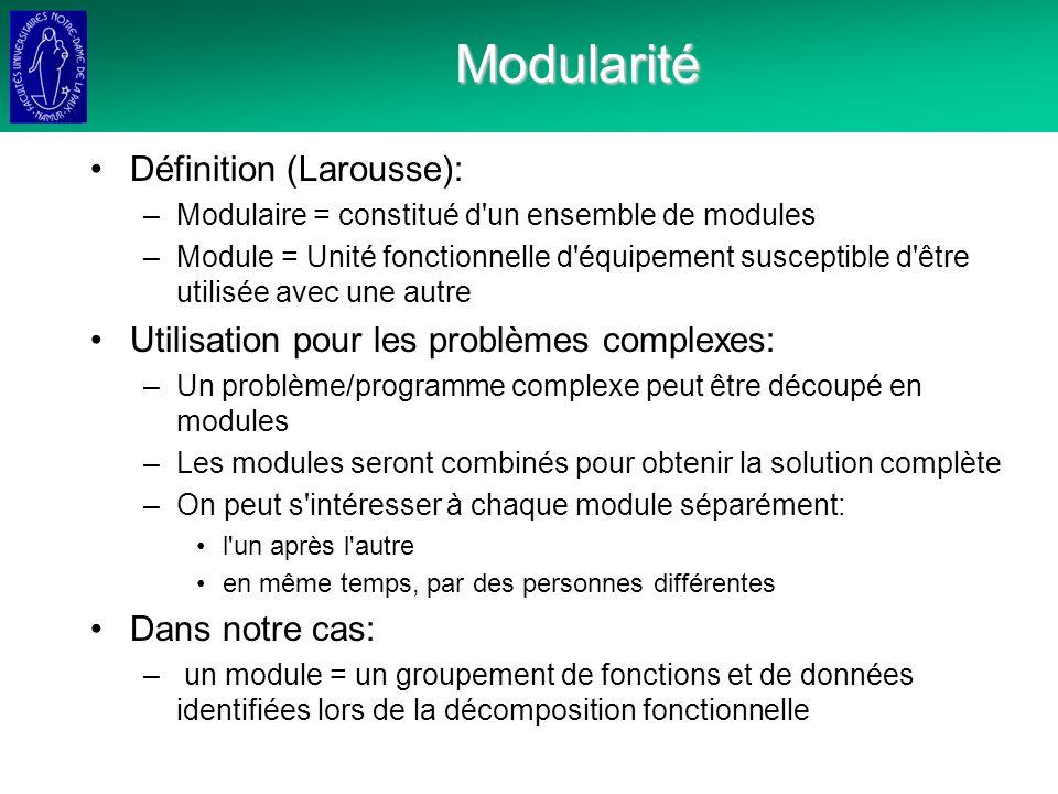 Modularité Définition (Larousse):