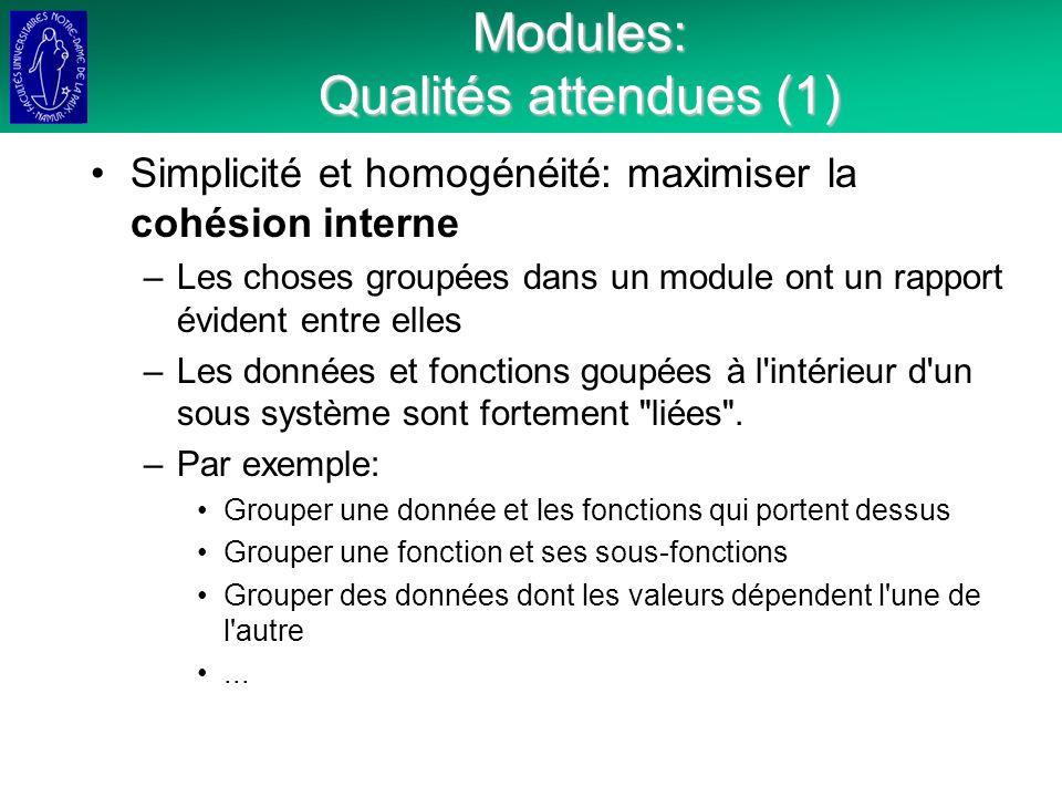 Modules: Qualités attendues (1)