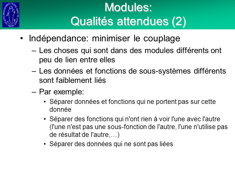 Modules: Qualités attendues (2)