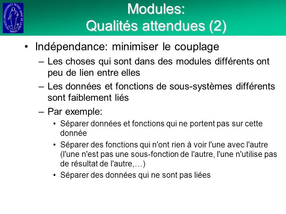 Modules: Qualités attendues (2)