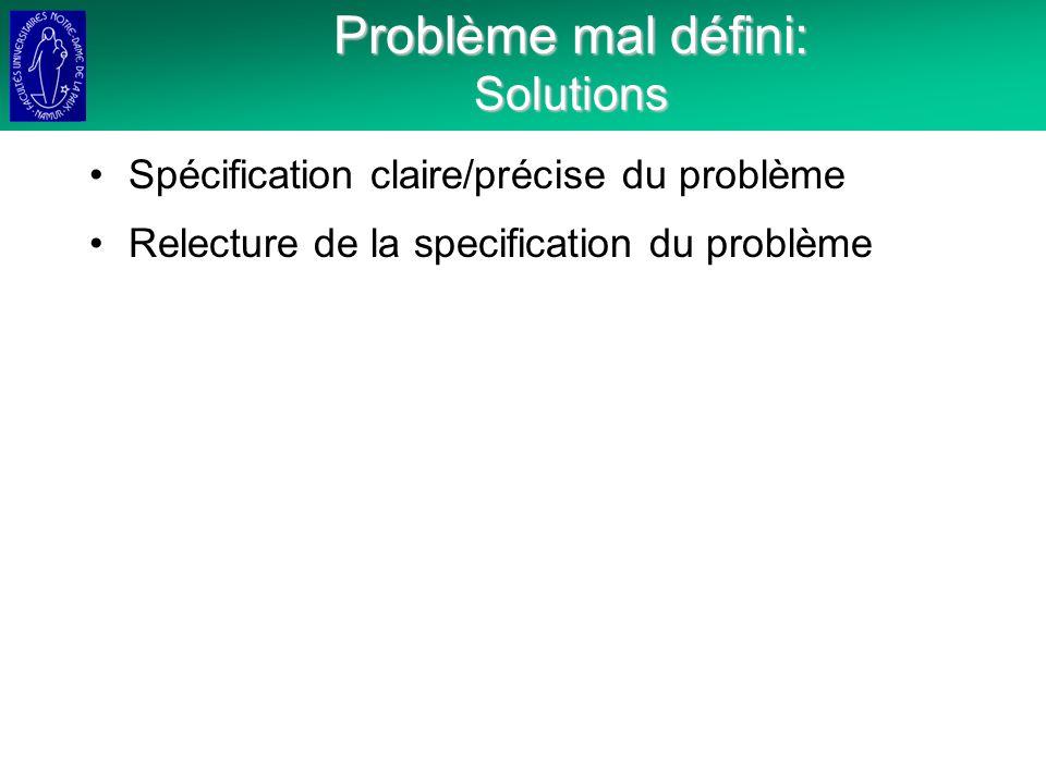 Problème mal défini: Solutions