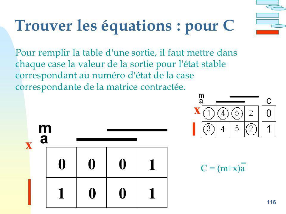 Trouver les équations : pour C