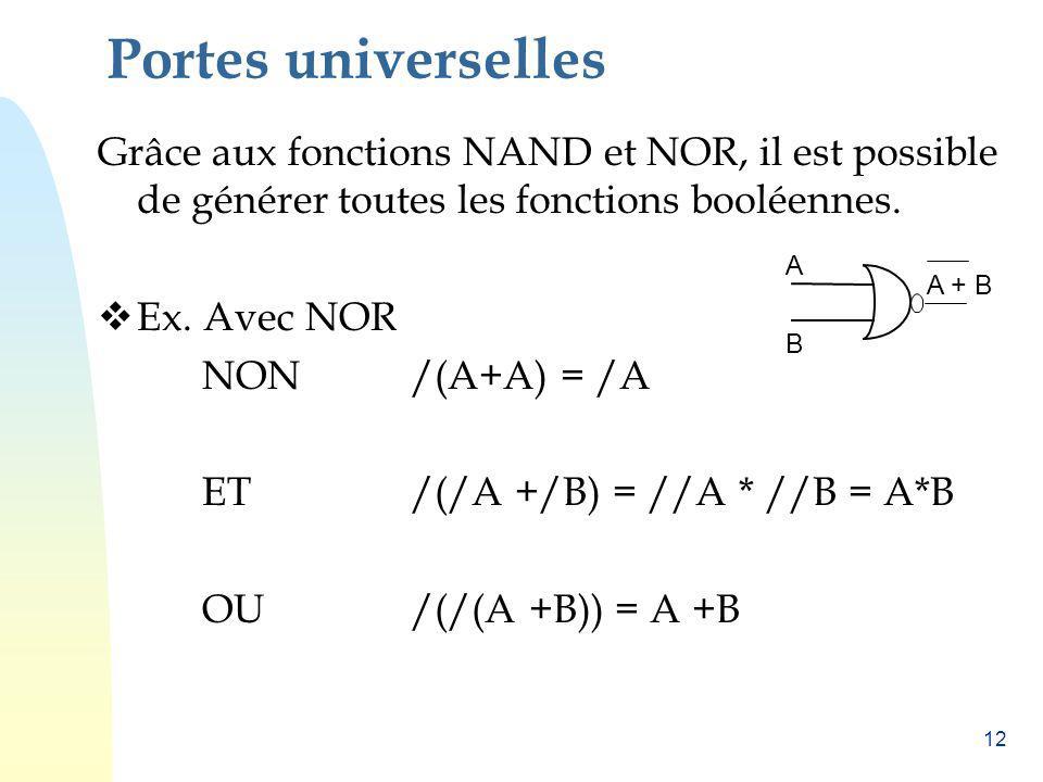 Portes universelles Grâce aux fonctions NAND et NOR, il est possible de générer toutes les fonctions booléennes.