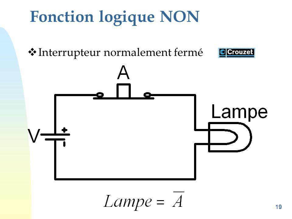 Fonction logique NON Interrupteur normalement fermé