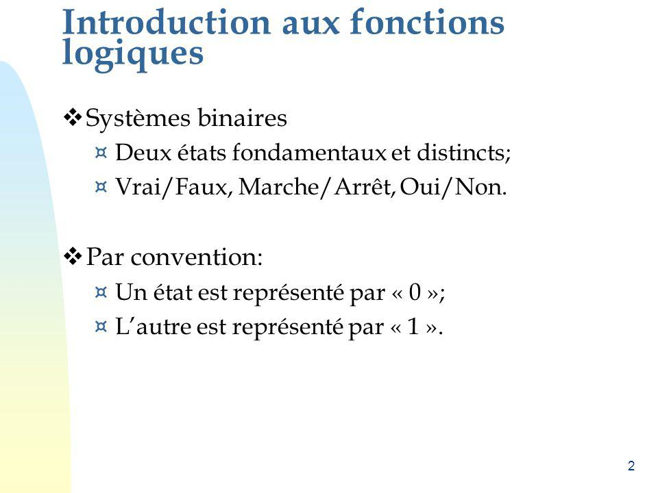 Introduction aux fonctions logiques