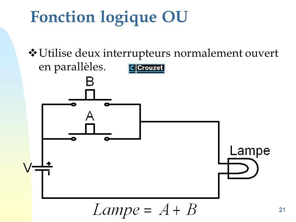 Fonction logique OU Utilise deux interrupteurs normalement ouvert en parallèles.