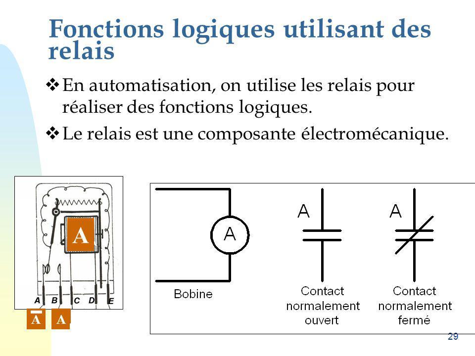 Fonctions logiques utilisant des relais