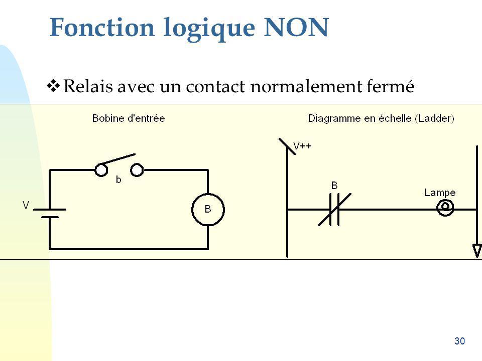 Fonction logique NON Relais avec un contact normalement fermé