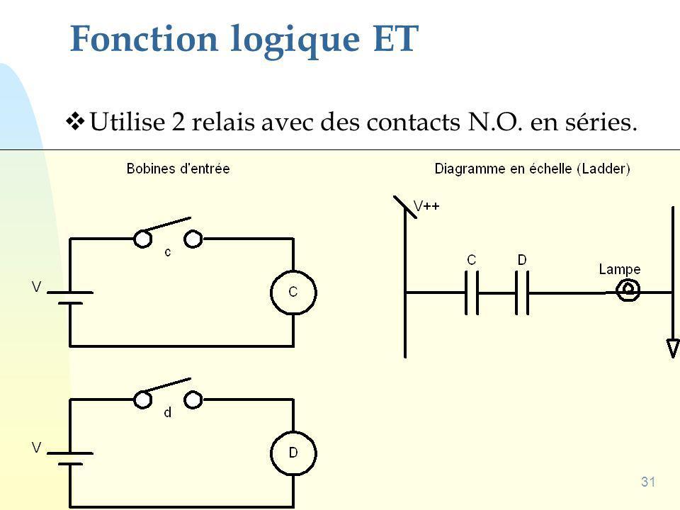 Fonction logique ET Utilise 2 relais avec des contacts N.O. en séries.