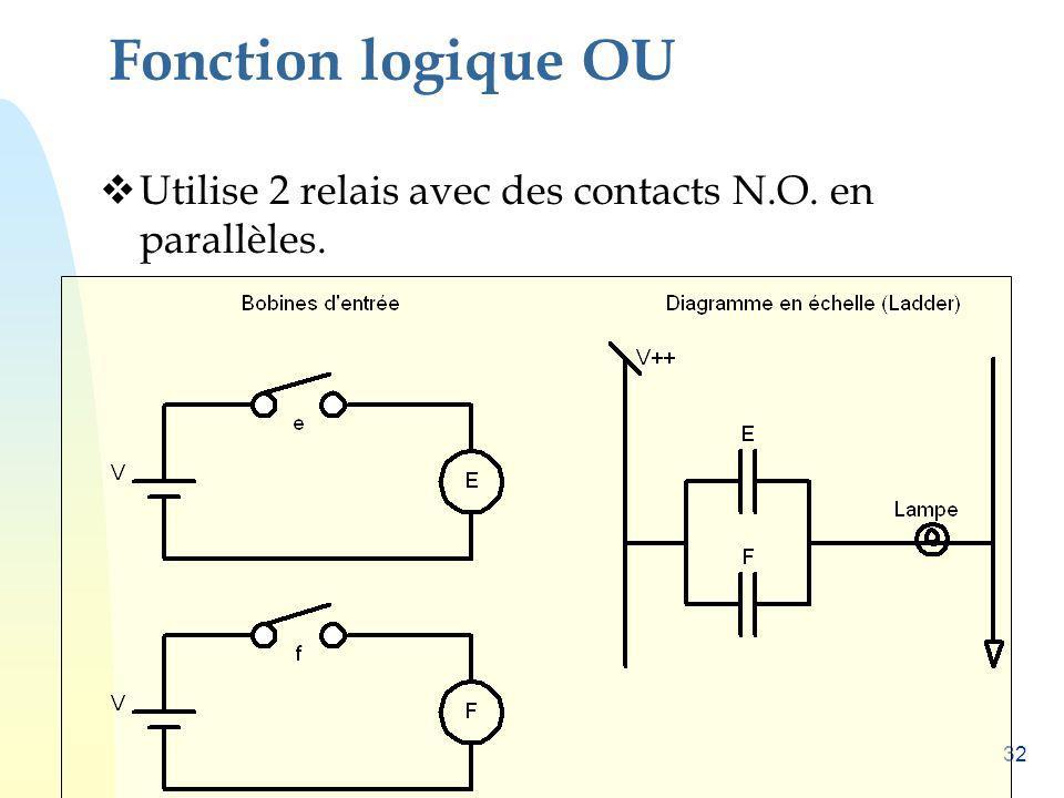 Fonction logique OU Utilise 2 relais avec des contacts N.O. en parallèles.