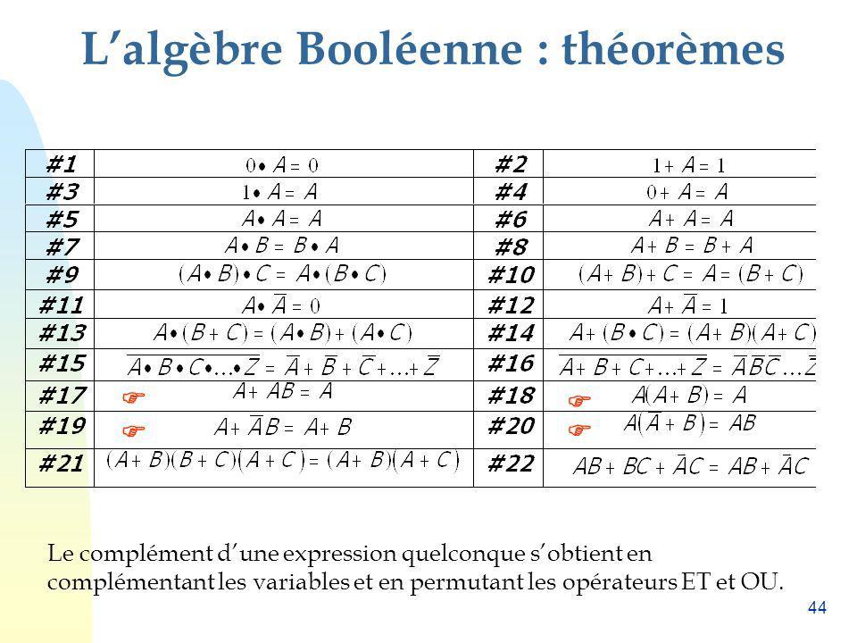 L'algèbre Booléenne : théorèmes