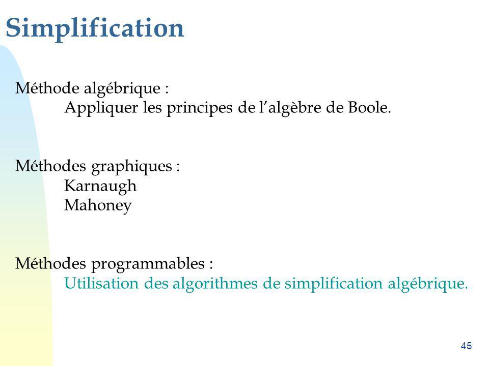 Simplification Méthode algébrique :