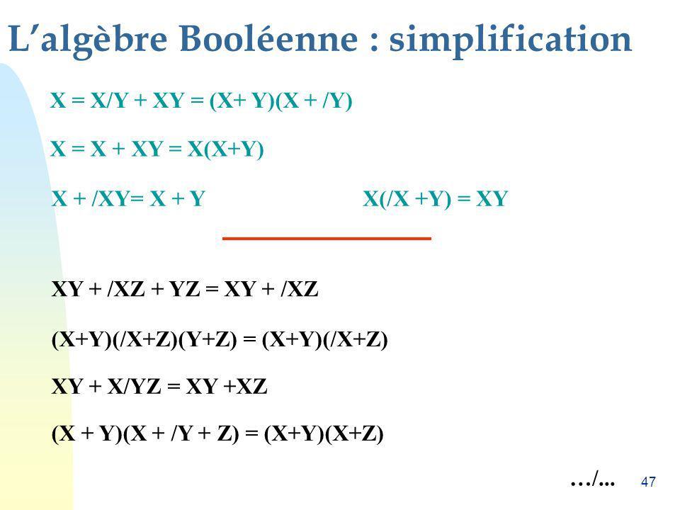 L'algèbre Booléenne : simplification