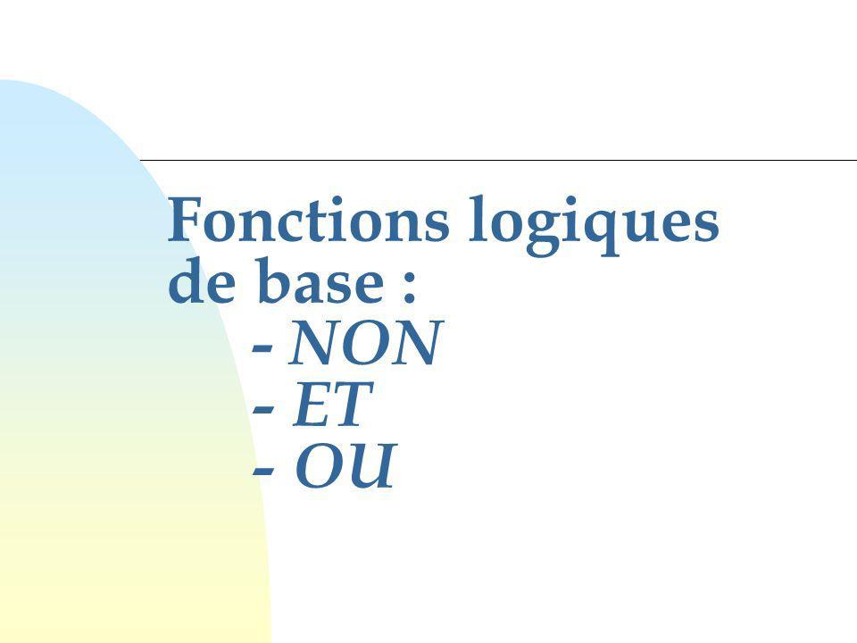 Fonctions logiques de base : - NON - ET - OU