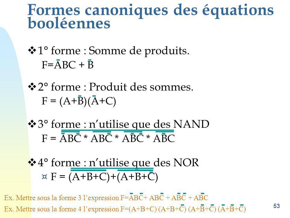 Formes canoniques des équations booléennes