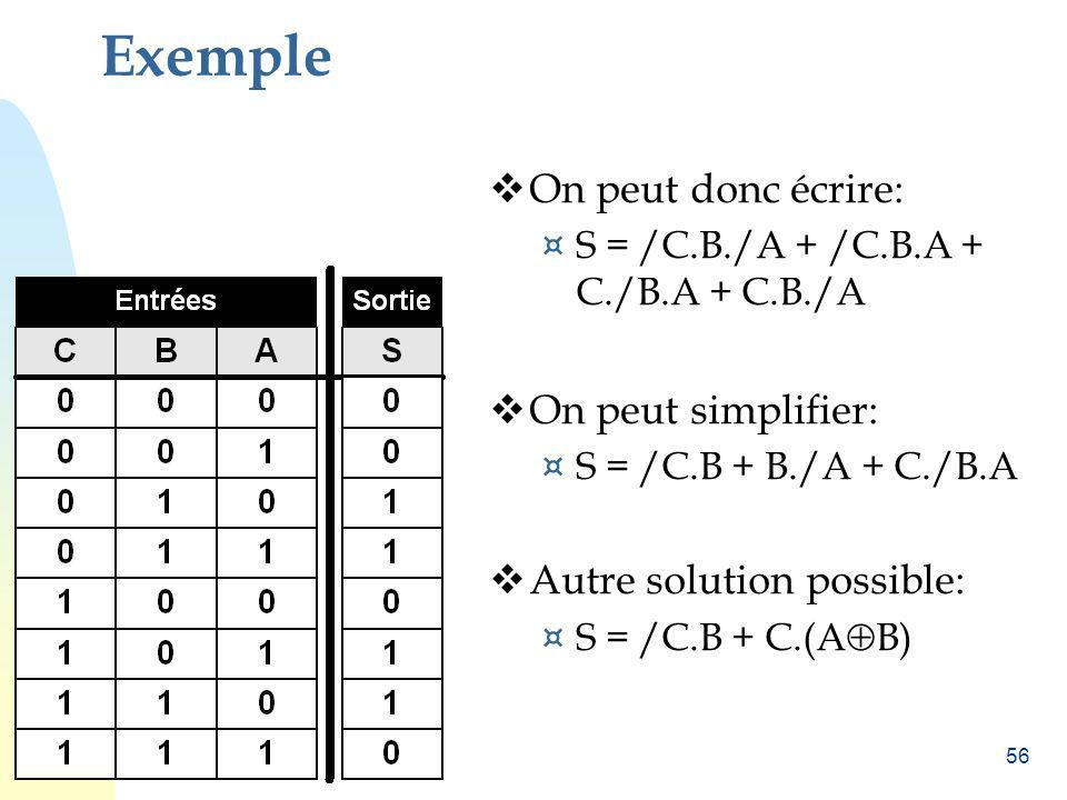 Exemple On peut donc écrire: On peut simplifier: