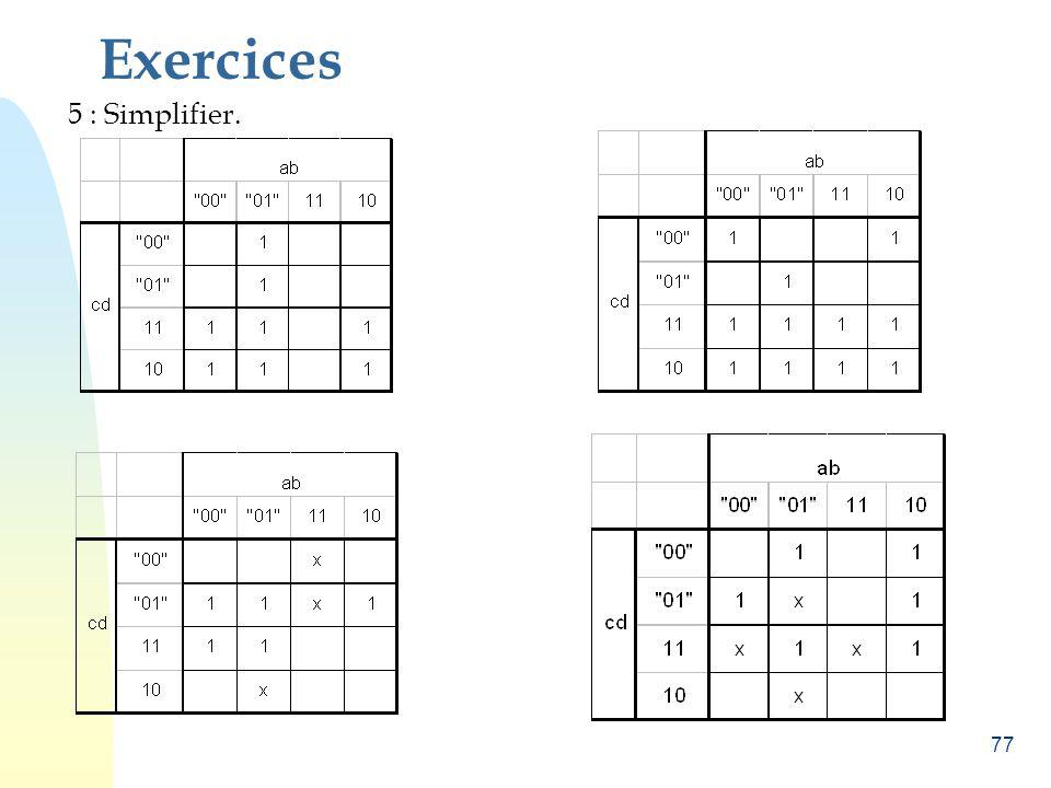 Exercices 5 : Simplifier.